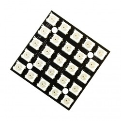 25 Bit 5x5, 5050 WS2812B Addressable RGB LED Matrix, NeoPixel Compatible